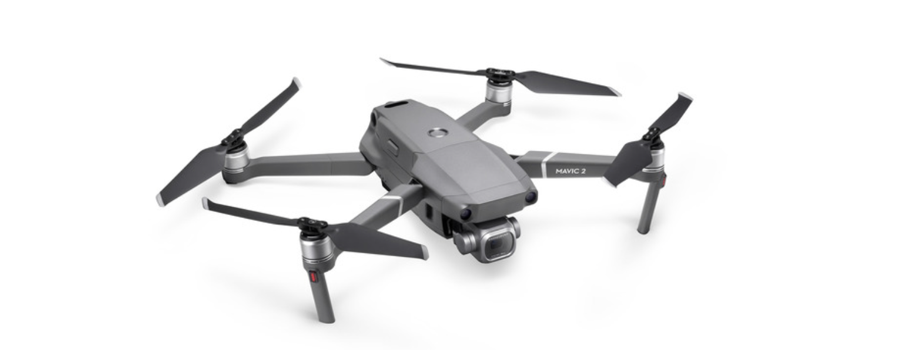 gray DJI Mavic 2 Pro quadcopter drone with legs and blades extended