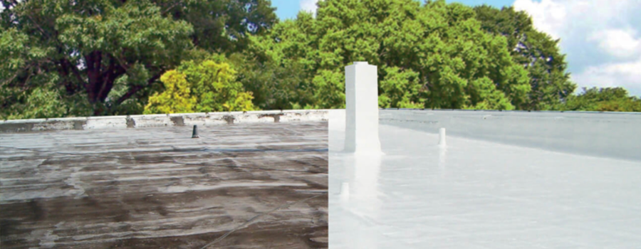 before and after photos of a commercial roof coating, with the after photo showing a clean white coating
